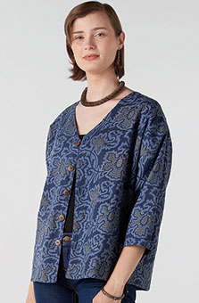 Reversible Meghna Jacket - River blue