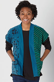 Naina Vest - Cerulean Evergreen heather