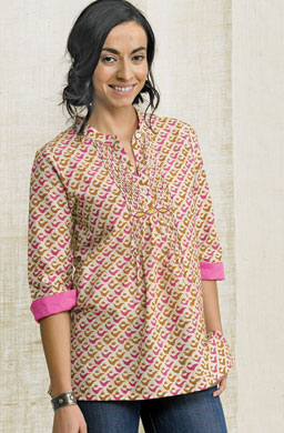 Shireen Top - Hibiscus/Saffron