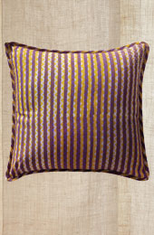 Cushion Cover - Purple, yellow stripe