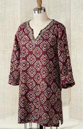 Agra Tunic -  Cranberry/Mult