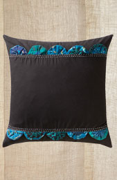 Cushion Cover - Black/ Teal Patchwork