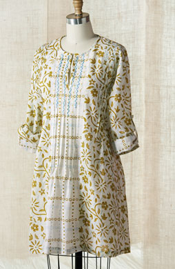 Kamini Tunic - White/Bright Olive