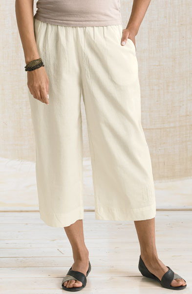 Textured Voile Culottes - Natural