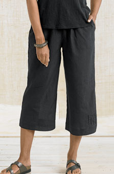 Textured Voile Culottes -Black