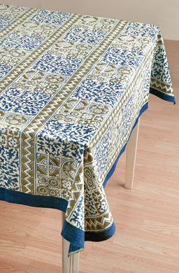 Tablecloth - Blue/Tan