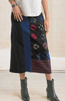 Kollam Skirt - Navy/Black/Multi