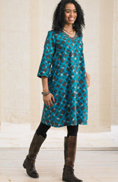 Champa Dress - Turquoise/Chocolate