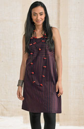Deepa Cami Dress - Navy/Coffee