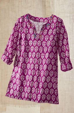 Agra Tunic - Bright violet/natural
