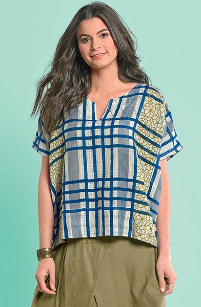 Navya Top - Natural/ink/multi