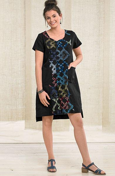 Farha Tunic Dress - Black/chindi
