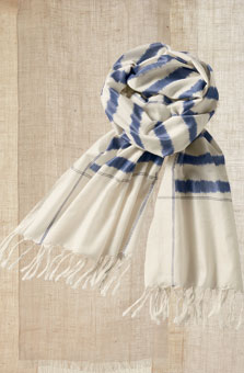 Scarf - Natural/cobalt