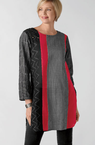 Divya Tunic - Black/ruby