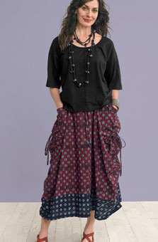 Rajwa Skirt - Claret/black
