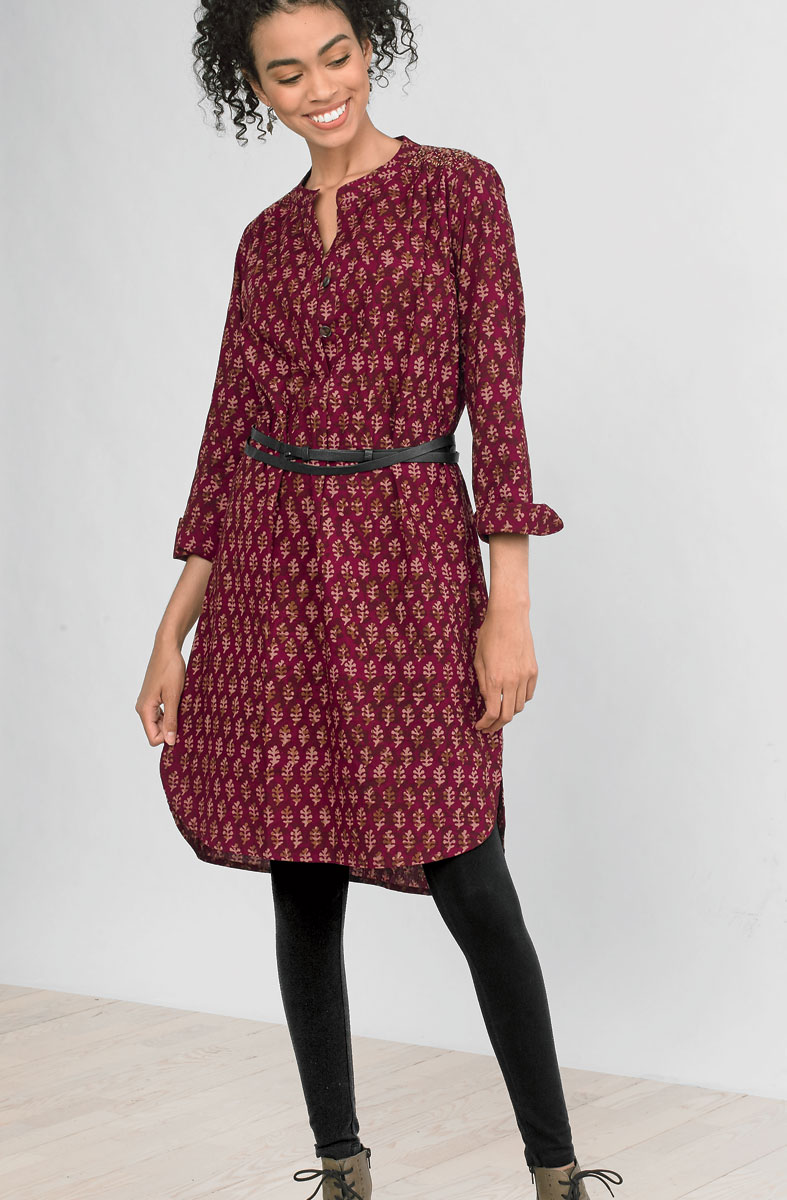 Kurta Shirt Dress - Claret