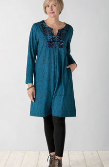 Jersey Kurta Dress - Bright teal