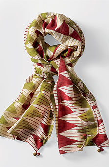 Cotton-silk Scarf - Garnet/lime