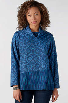 Cowl Neck Top - Indigo