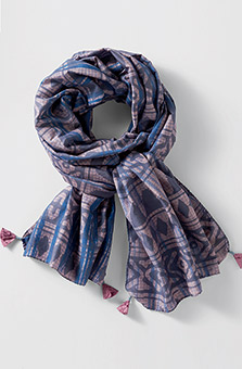 Cotton-Silk Scarf - Pewter multi