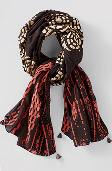 Cotton-Silk Scarf - Black/rosewood