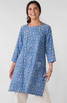 Rakhi Kurta - Chambray blue
