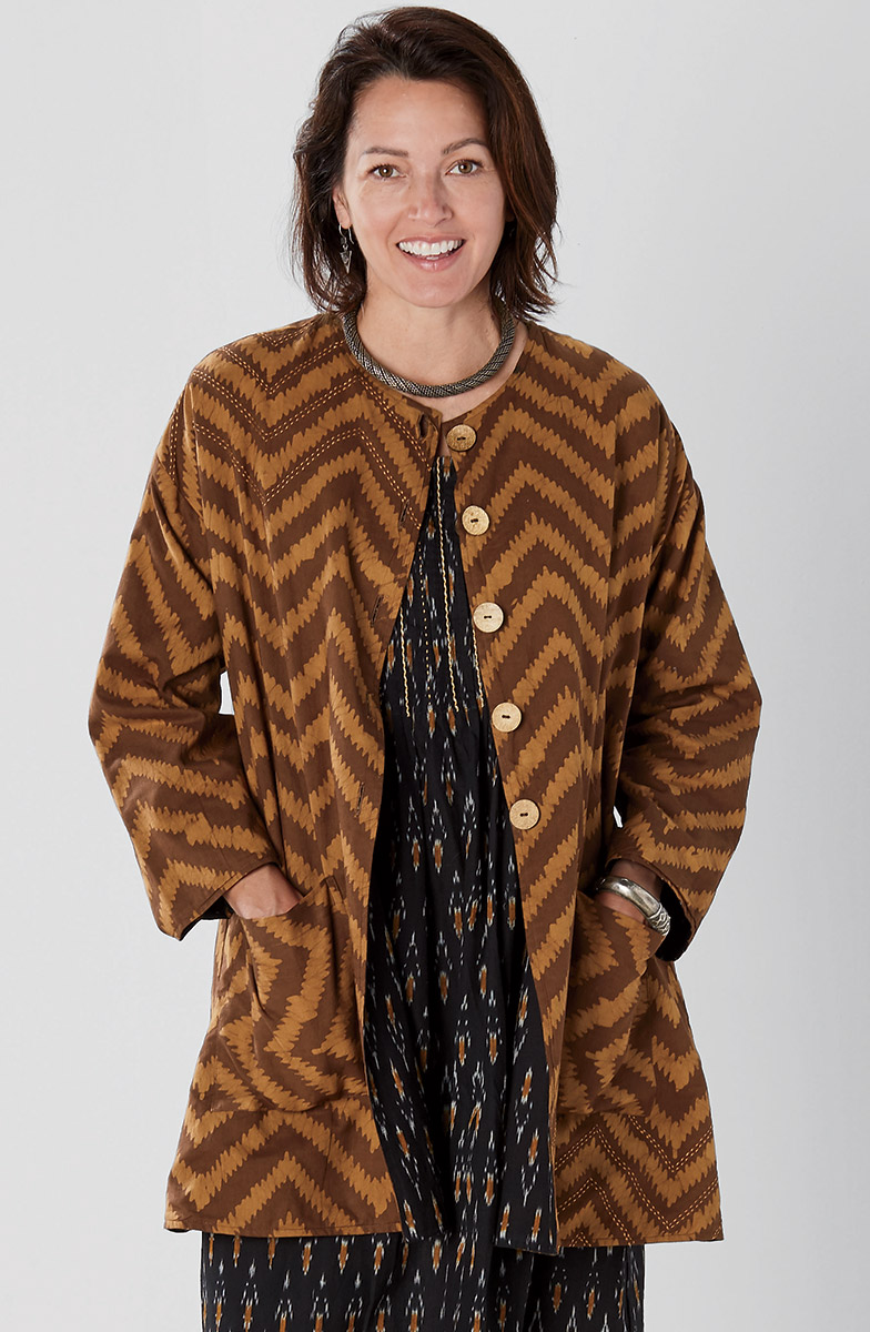 Reversible Nalanda Jacket - Brandy/Black