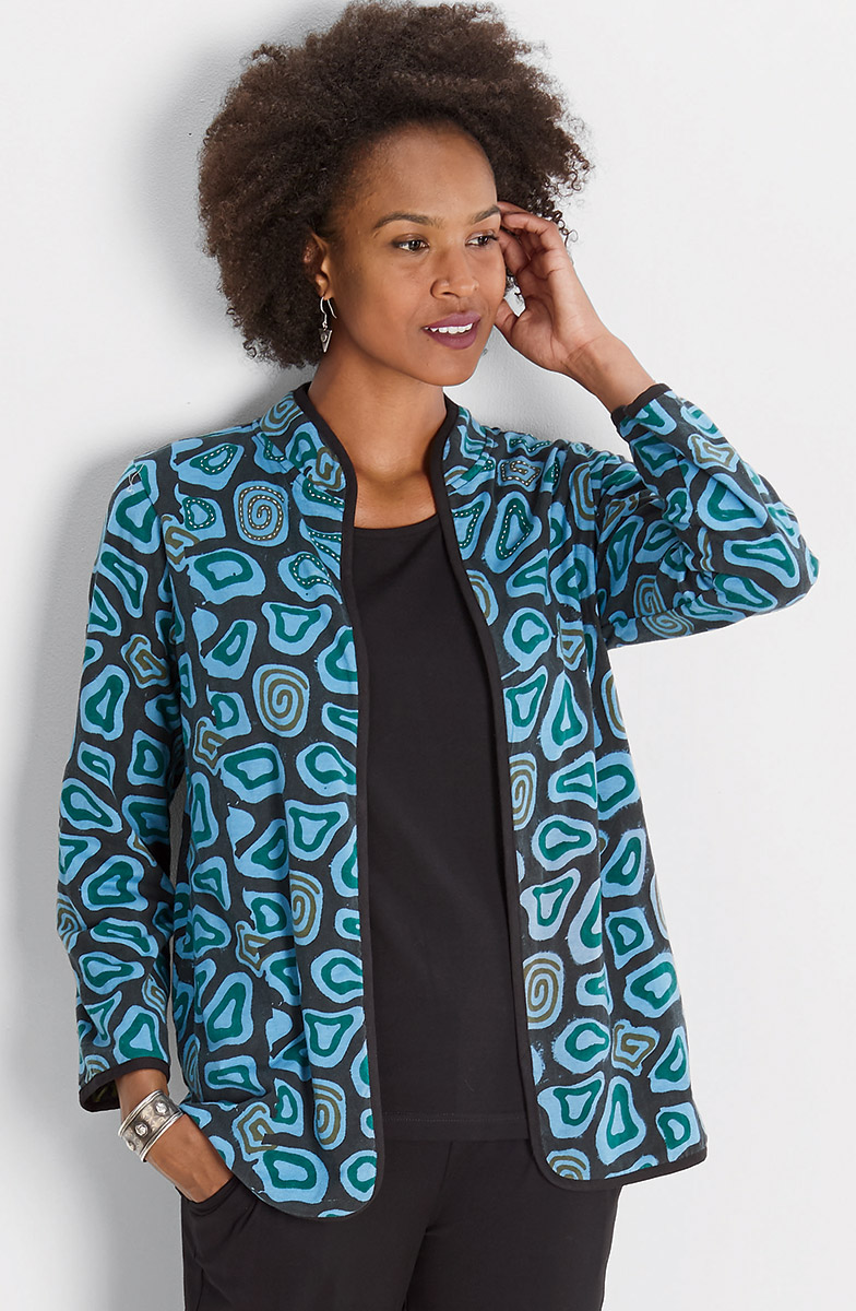 Reversible Amulya Jacket - Bluestone/Green cypress