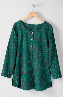 Divya Henley Top - Evergreen