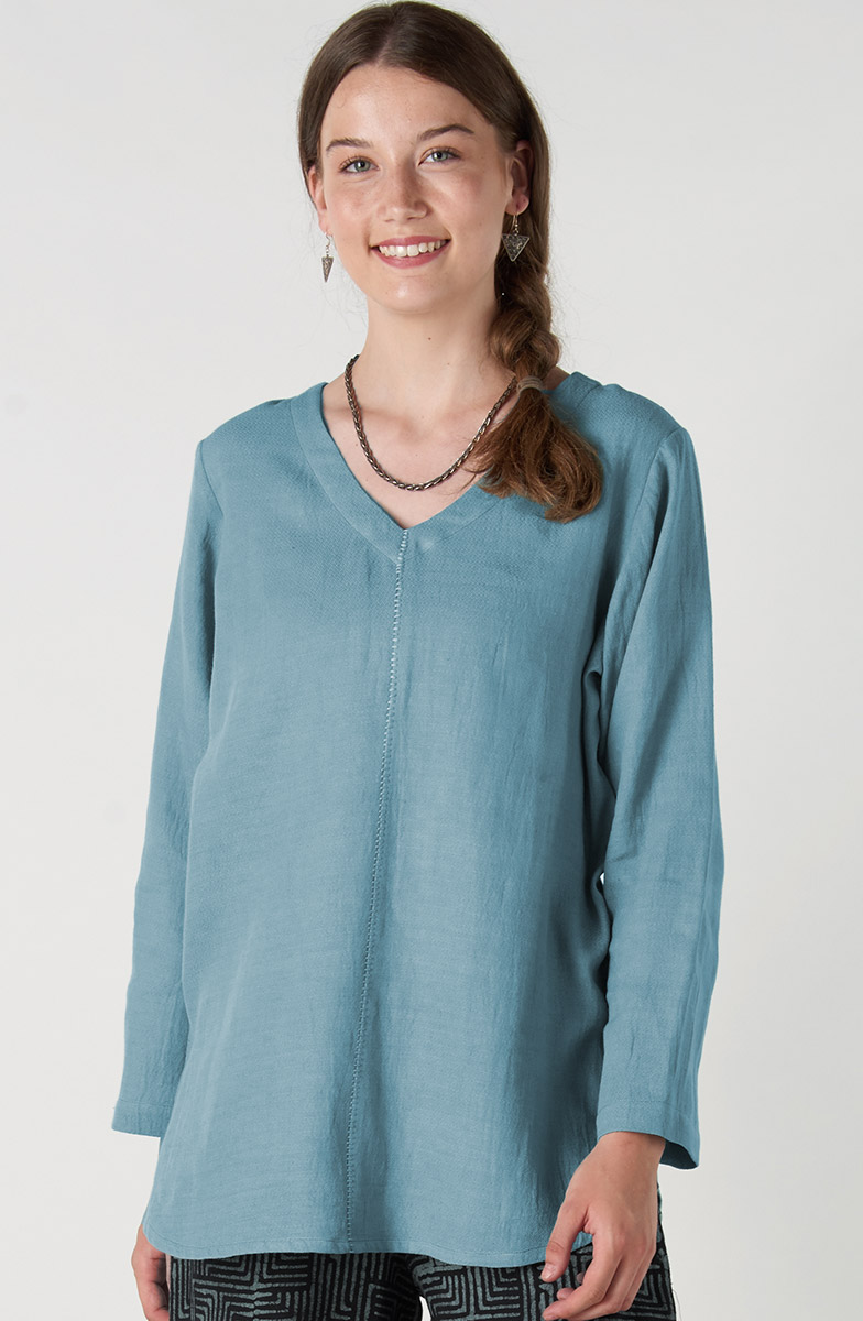 V-neck Divya Top - Light teal