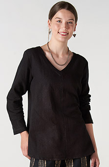V-neck Divya Top - Black