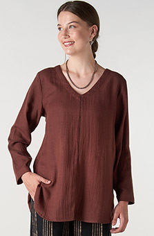V-neck Divya Top- Chestnut