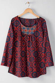 Sayani Organic Top - Red Indigo