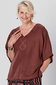 Ellora Kaftan Top - Chestnut
