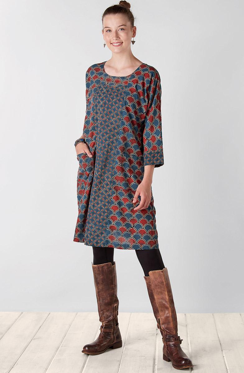 Patna Organic Dress - Red Indigo