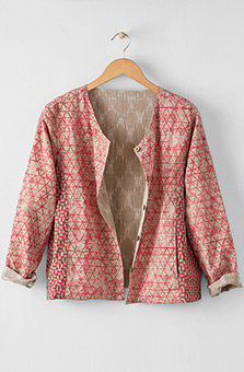 Reversible Harisha Organic/Ikat Jacket - Sunwashed red/Sand