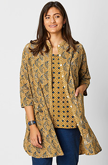 Usha Jacket - Wheat/Indigo