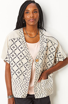 Chitra Cap Sleeve Jacket - Flax/Black