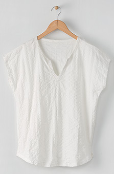Notch-neck Tee - White