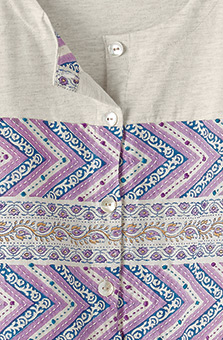 Tivisha Henley Top - Oatmeal/Multi