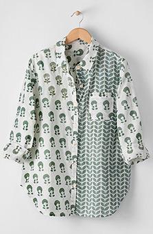 Jeevan Shirt- White/Eucalyptus
