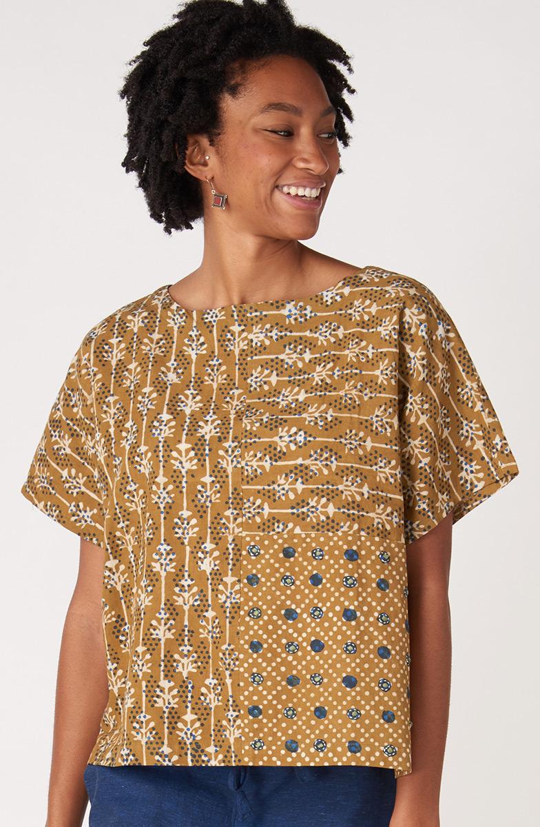 Charita Top - Wheat/Indigo