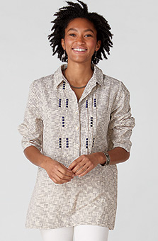 Bhavna Tunic - Natural/Navy