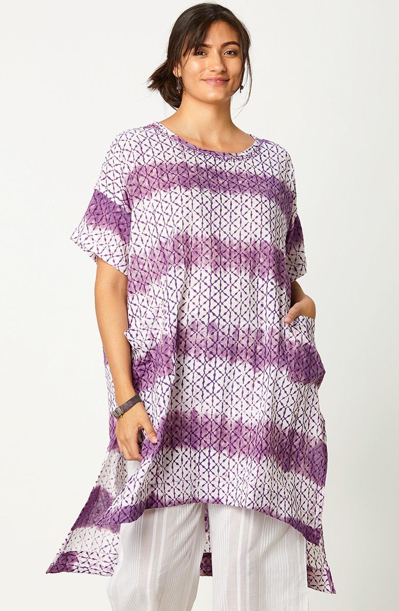 Bhadra Tunic - Purple/White