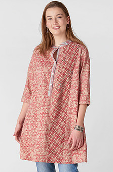 Suveera Organic Tunic - Sunwashed red