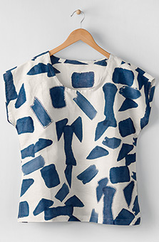 Tivisha Top - White/Ink blue