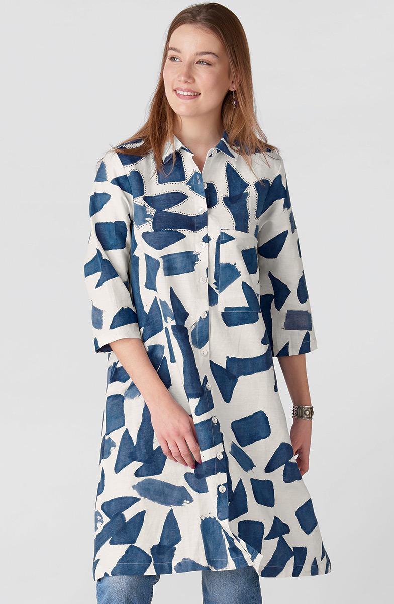 Nahila Shirt - White/Ink blue