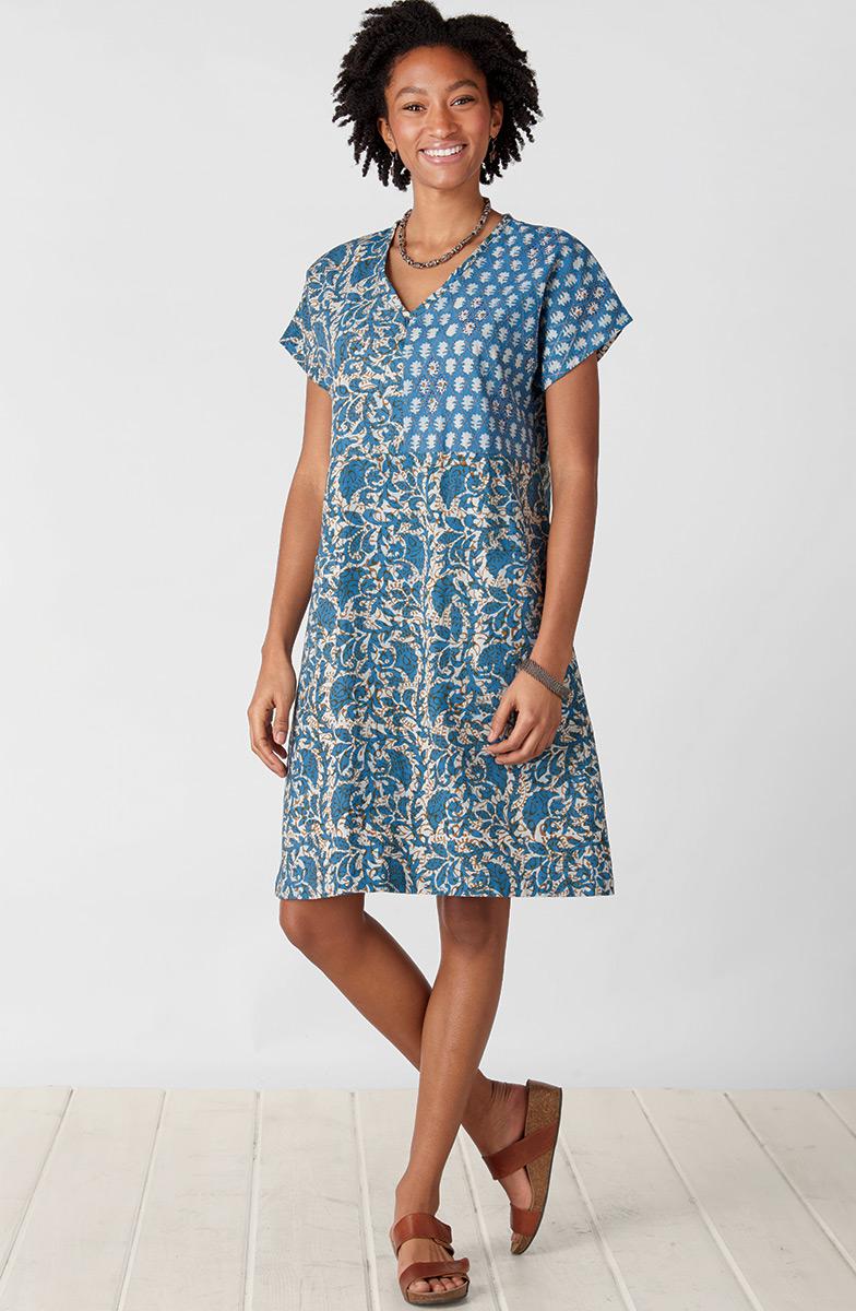 Rishika Dress - Cornflower/Multi