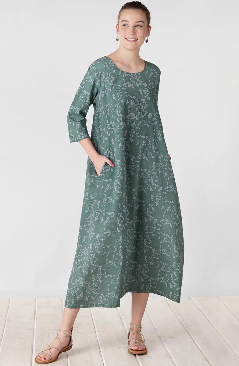 Ratna Dress - Stem green