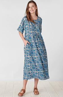 Long Sakshi Dress - Cornflower/Multi